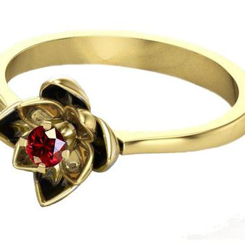 Gold Ruby Flower Ring Lotus Ring Art Nouveau unique Engagement ring Flower ring Red Floral ring 18K Yellow gold Engagement gift