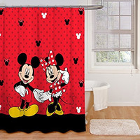 "Disney Mickey and Minnie 70"" x 72""  Fabric Shower Curtain"