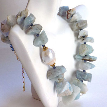 Blue Necklace, Gemstone Necklace, Blue Lace Agate, Statement Necklace, Handmade Necklace, Handcrafted Jewelry, Unique Jewelry, Artisan Made
