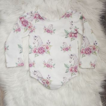 Floral Unicorn Leotard/Peplum/or Dress