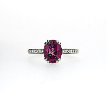 Rubellite tourmaline engagement ring, diamond, oval tourmaline, white gold ring, wedding ring, solitaire, pink, engagement, vintage style
