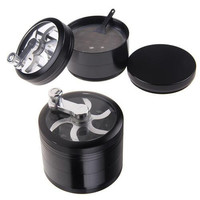 NEW 4 Layers Hand Crank Weed Bud Herb Spice Tobacco Grinder Black