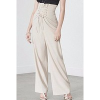 Beige High Waisted Lace Up Wide Leg Pants