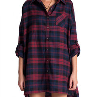 Plaid Flannel Shirt Dress - Red