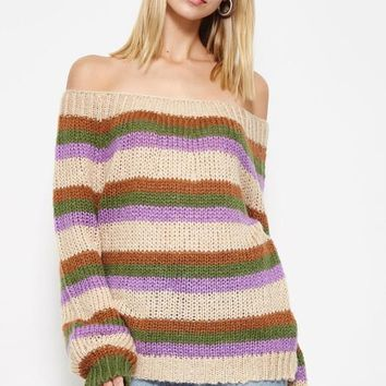 Stripe Up Your Love Life Sweater in Lavender