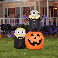 Halloween Minions Gone Batty on Pumpkin Halloween Airblown Scene Trick or Treat Outdoor Decor Yard Ornament