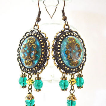 Turquoise Blue Resin Earrings - Ethnic  Blue Dangle Bead Earrings