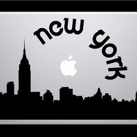 New York Skyline Macbook Decal With Writing / Macbook Sticker / Laptop Sticker - 2