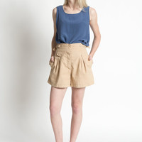 Vintage 70s High Waisted Khaki Pleated Shorts with a Wide Leg | S