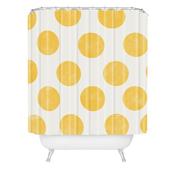 Allyson Johnson Spring Yellow Dots Shower Curtain