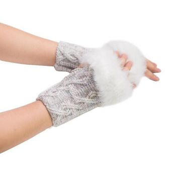 Faux Rabbit Fur Knitted Wrist Finglerless Gloves
