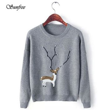 Sunfree 2016 New Hot Sale Womens Casual Christmas Deer Pearl Sequins Long Sleeve Jumper Sweaters Brand New High Quality Dec 5