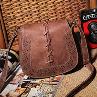 Women's Pu Leather Flap Crossbody Small Shoulder Bag Coffee