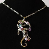 Pastel Color Crystal Rhinestone Southwest Desert Gecko Lizard Pendant Necklace