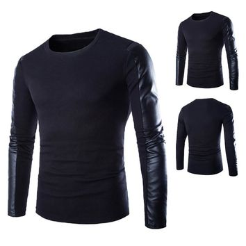 High Quality Brand Autumn Winter Men Sweaters Man O-Neck Jumpers Long Sleeve PU Leather Cotton Patchwork Pullover Male Puls Size
