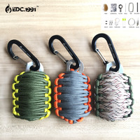 Outdoor Camping EDC GEAR Carabiner Grenade 550 Paracord Survival Kit Fishing Kit with Fire Starter and Sharp Eye Knife