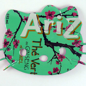Green with pink flowers Hello Kitty Magnet - Made from Arizona soda can- soda can magnet - unique gift for her - gift for teacher - upcycled