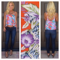 Island Time Hawaiian Print Tank - ORANGE & MINT