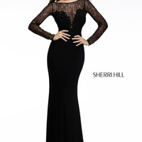 Sherri Hill 4309 Long Sleeve Lace Prom Dress