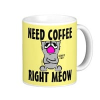 Funny Gibby Cat Coffee Mugs, 'Right Meow' Classic White Coffee Mug