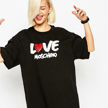 "Loose ""Love Moschino"" Extra Long Dress-like T-shirt a12778"