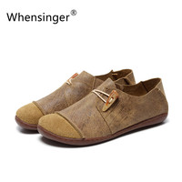 Whensinger 2016 Women Shoes Spring Summer Casual Female Genuine Leather Solid Buckle Strap Vintage Elegant Fashion D1505 (0309)