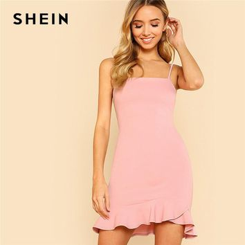 SHEIN Sexy Pink Pastel Party Preppy Ruffle Asymmetrical Backless Flounce Hem Open Back Summer Dress Women Cami Mini Dress