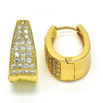 Gold Layered 02.287.0011.15 Huggie Hoop, with White Cubic Zirconia, Polished Finish, Golden Tone