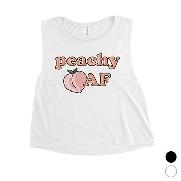 365 Printing Peachy AF Womens Funny Graphic Workout Tank Top Crop Tank Top Gift