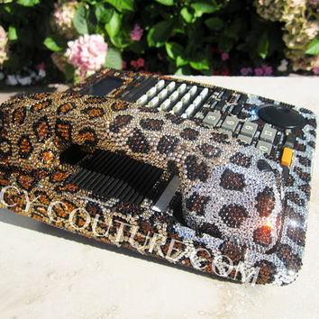 Leopard Print Swarovski Crystal Desk Home Office Phone