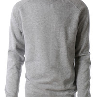 LE3NO PREMIUM Mens Varsity Fleece Raglan Crewneck Sweatshirt