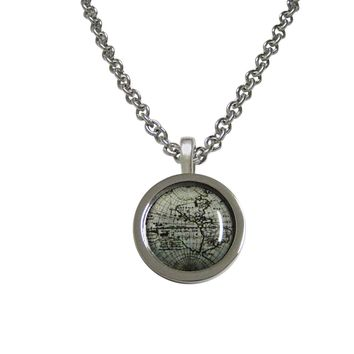 Bordered Old Style World Map Pendant Necklace