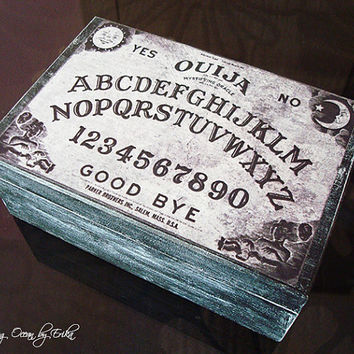 Ouija board wood box decorated with decoupage