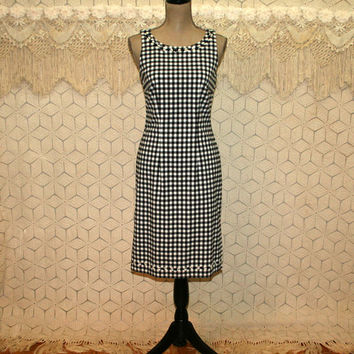 90s Sleeveless Day Dress Gingham Check Summer Dress Sheath Midi Retro Black and White Size 6 Dress Small Vintage Clothing Womens Clothing