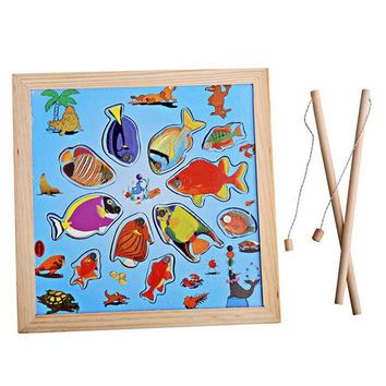 DCCKL72 Kids Wooden Toy Children Magnetic Fishing Rod Model Bath Fun Toy Set Cartoon Baby Puzzle Magnetic Fishing Game Toy