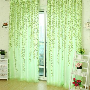 Fashion French Shower Valance Curtain Living Room Sheer Curtain Tulle Voile Sallow Willow Wicker Flocked Window Home Decorations
