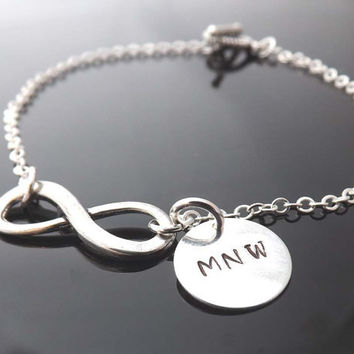 Personalized infinity bracelet  -  personalized initial - friendship - one direction bracelet