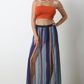 Semi-Sheer Striped M-Slit Maxi Skirt