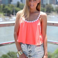 Coral Daisy Neckline Sleeveless Crop Top