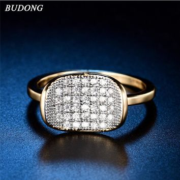 BUDONG Infinity Luxury Wedding Rings For Women Gold-color Jewelry Birthday Gift Noble Celebrities Dating Party Rings XUR601