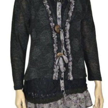 Pretty Angel Black Grey Floral Artsy Buttons Ties Knit Layered Top