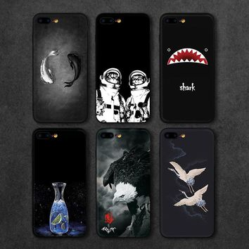 Newest Phone Cases For iPhone 7 7 Plus Case Black White Fish Shark Eagle Cat Man Hard PC Back Cover For iPhone 7 6 6S Plus
