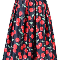 Cherry Print Mid Skater Skirt In Black