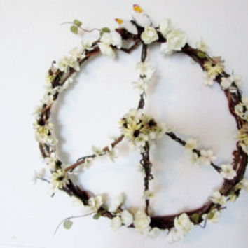 "Peace Wreath, Hippie, Boho Wreath, Floral Wreath, Peace Sign Wreath, Grapevine Wreath, 13"" or 16"""