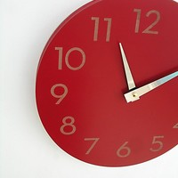 modern numbers clock poppy red