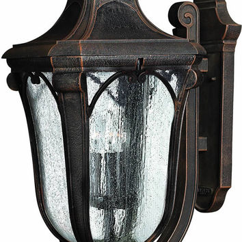 "0-034139>27""h Trafalgar 3-Light Extra-Large Outdoor Wall Lantern Mocha"