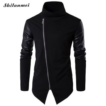 Men Hooded Sweatshirts with Leather Patchwork Hip Hop Mantle Hoodies Fashion Outwear long Sleeves Asymmetrical Man's Outwear
