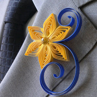 Lemon and Royal Blue Wedding Boutonniere, Lemon Wedding, Royal Blue Wedding, Yellow Boutonniere, Blue Boutonniere