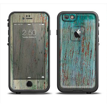 The Chipped Teal Paint on Aged Wood Apple iPhone 6/6s LifeProof Fre Case Skin Set