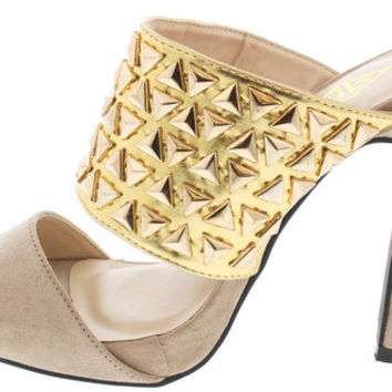 VIVI BEIGE GOLD STUDDED SLIDE OPEN TOE HEEL